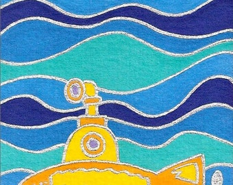 Yellow Sub by David Venne mono deluxe Needlepoint Canvas