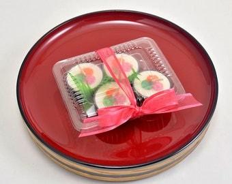 Candle Decoration Faux Food Sushi Tea Light Candles Sushi Plate Candle Decor Tealight Candles Japanese Decoration 4 pc. Tealight Candle Set
