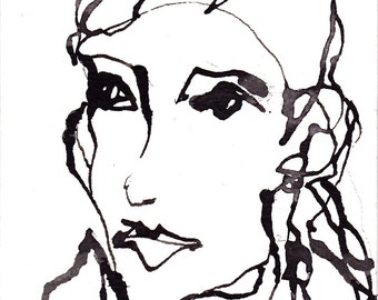 Art  Drawing Pen and Ink  Sketch Portrait Woman Face Black and White Print