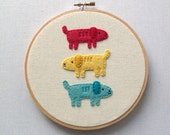 Primary Pups - Hand Embroidered Wall Art