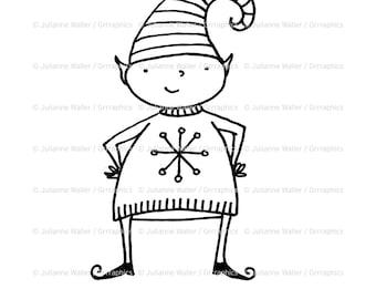 Happy Christmas Elf Digital Stamp Clipart