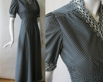 Vintage pinstripe gown, silver and black, v neck, trimmed in silver gimp, floor length, 1970's, extra small