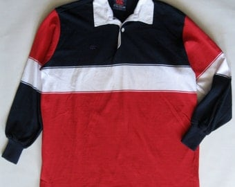Men's rugby shirt, Canterbury of New Zealand, in red, navy blue, and white, long sleeve, 2 XL / Extra Large