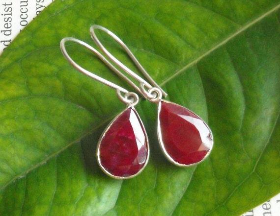 Natural Ruby earrings - Tear drop earrings - Bezel earrings - July birthstone - Red earrings - Jewelry gift ideas