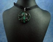 Black Marble Small Cthulhu Cameo Necklace, Polymer Clay Jewelry
