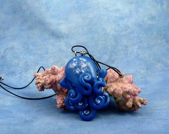 Night Sky Octopus Necklace, Blue Polymer Clay Cephalopod Jewelry