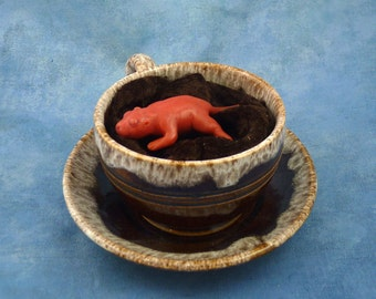 Teacup Baby Rat, Original Polymer Clay Rodent Sculpture