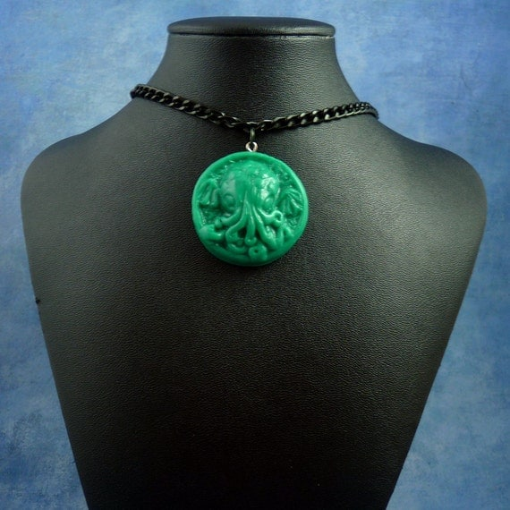 Jade Small Cthulhu Cameo Necklace with Chain, Handmade Polymer Clay Jewelry