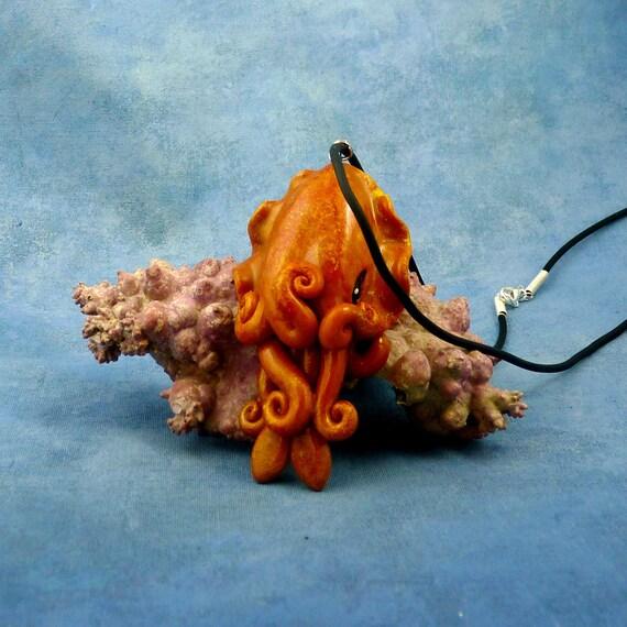 Burnt Orange Cuttlefish Necklace - Handmade Polymer Clay Jewelry