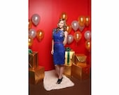SALE Vintage blue sequin and beaded party dress