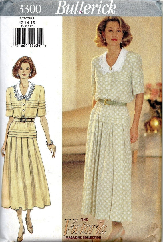 Butterick 3300  Misses Graceful Dress Pattern with Detachable Collar Womens  Sewing Pattern Size 12 - 16  Bust 34 - 38 Uncut