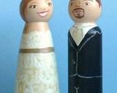 """Wooden Cake Toppers - Completely Custom Peg Dolls, 3.5"""" / Wedding Cake Topper."""
