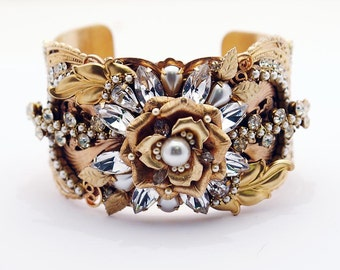Victorian Bridal Cuff Bracelet - Crystal and Pearls - Floral, Fabulous, and One of a Kind