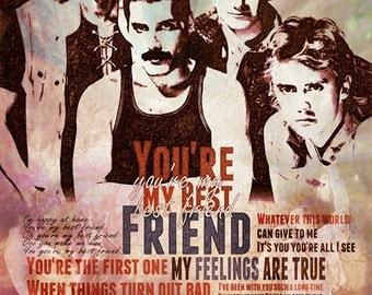 Print Freddie Mercury Queen music poster  Birthday Gift art Queen illustration print canvas giclee