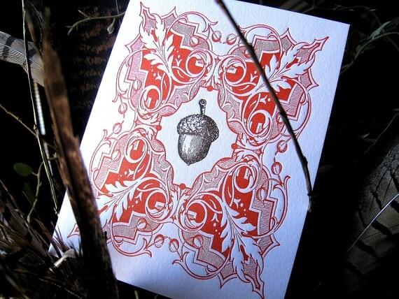 Letterpress Thanksgiving or Autumn Acorn Greeting Card
