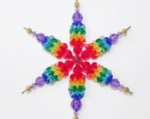 Rainbow Snowflake Ornament Suncatcher Wind Spinner Ornament with Plastic Beads in Rainbow Colors with Gold Tips Large Size