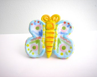 Colorful Handmade Ceramic Butterfly Knob