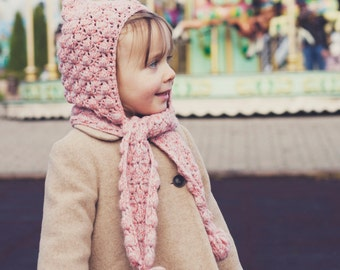 Crochet hat PATTERN - Pom-pom scarf with hoodie (sizes baby to adult)