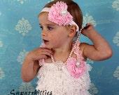 Baby Petti Romper - White Lace Baby Ruffle Romper with Pink Chiffon Heart Baby Headband Photo Prop
