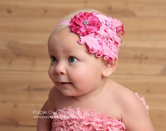 Pink Baby Feather Headband - Hot Pink/Pink Baby Headband - Flower Headband with Rhinestone Toddler/Girl Fascinator