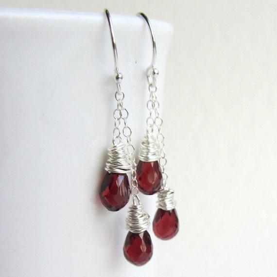 Red Garnet Earrings - Double Dangle