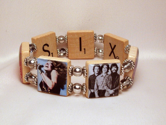 Woodstock Bands Bracelet Upcycled Scrabble Jewelry 1960s