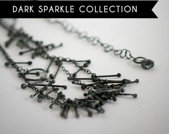 Dark Sparkle Collection: Cascade Necklace Black Oxidized Recycled Silver