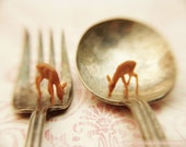 Deer Print, Curiosities, Surreal,Whimsy, Etsy Art, Nature Photography, Tiny Deer Grazing, Spoon, Fork, Lovely Wall Art