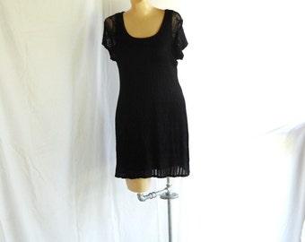 Vintage Knit Dress Mini Dress Black Party Dress Little Black Dress