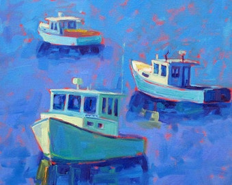Lobster Boats - Maine Boats - Seascape - Giclee Print