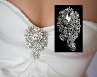 Art Nouveau Wedding Brooch, Pearl Bridal Broach, Bridal Dress Jewelry, Bustier Broach, Swarovski Crystal Wedding Jewelry Gift, INGGRID