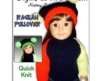 pdf 18 inch doll knitting pattern. Fits American Girl Doll. Raglan Pullover 008