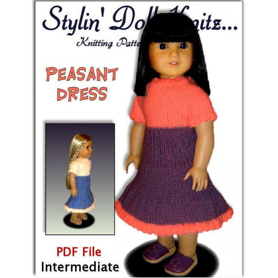 Doll Dress knitting pattern, fits 18 inch including American Girl. PDF 029