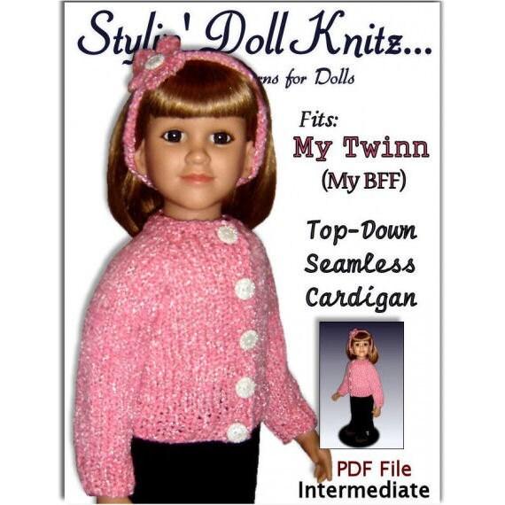 Doll Clothes knitting pattern. Fits American My Twinn (My Bff) 23 inch dolls. 611
