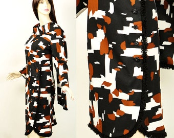 Vintage 70s Fringe Geometric Puzzle Dress ML and Scarf