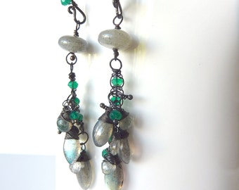 Labradorite and Green Onyx Earrings - Oxidized Sterling Silver  - One of a Kind - Tagt - Free Shipping