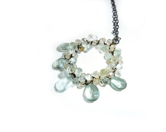 Aquamarine  Oxidized Sterling Circle Necklace - Fine Jewelry - One of a Kind - Free Shipping