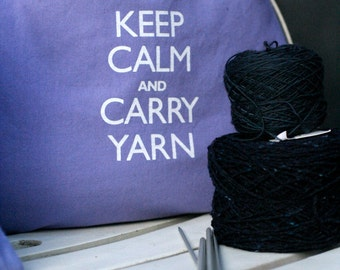 Large knitting project bag - Keep Calm and Carry Yarn - lavender