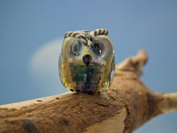 Winston.... lampwork owl bead... sra