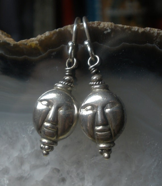Silver Buddha Bead Earrings