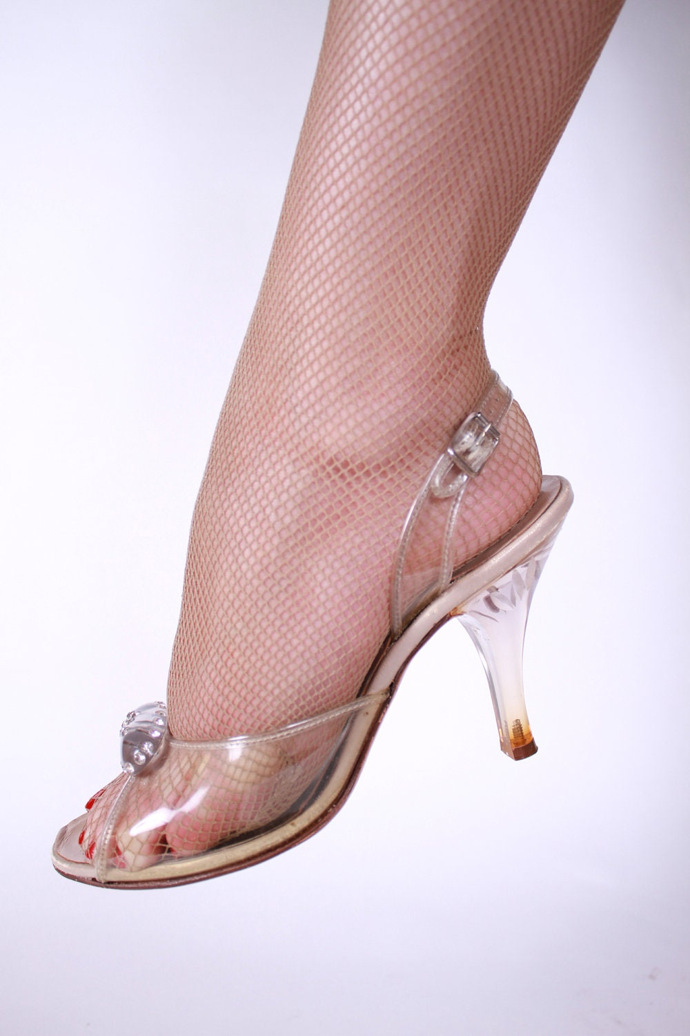 Vintage 1950s Clear Lucite Heel Wedding Shoes Size 5 5b
