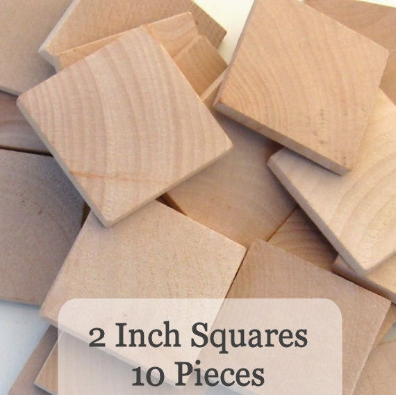 Unfinished Wooden Squares 2 inch, Pack of 10