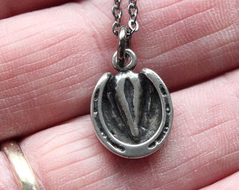 Horse Hoof Necklace Silver Horse Hoof Pendant Necklace  Shod Horse Hoof Charm Necklace 166