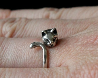 Kitty Cat Ring In Solid Sterling Silver Pet Cat Ring Cat Jewelry 162