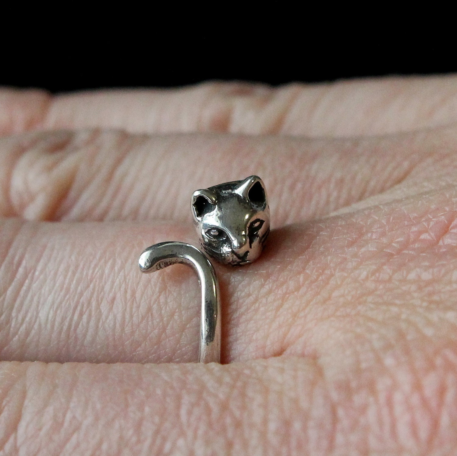 cat ring in solid sterling silver pet cat ring cat