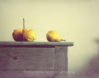 3 pears... Fine art kitchen photography print. 8,3 x 11,7 (21x 29,7cm)