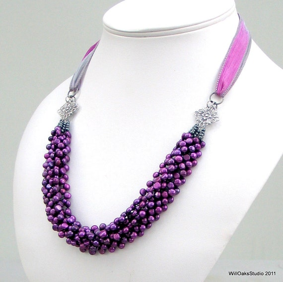 Reserved Custom Purple Pearl Bib Necklace & Marching Pearl Earrings, Made To Order, Pearls in Berry on Color Choice of Silk Ribbon