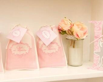PINK DAMASK BALLERINA Printable Favor Bag Iron On
