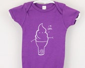 "Organic baby bodysuit ice cream cone, ""I'm cool"" screen printed"