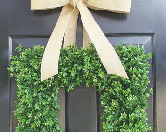 Summer Wreath- Spring Wreath- Square Boxwood Wreath for Door- Housewarming Gift- 18 INCH Cottage Chic Decor THIN WREATH for Storm Door